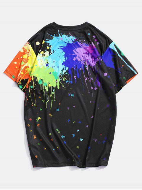 outfits Splatter Paint Butterfly Print Lounge Crew Neck Tee - MULTI 2XL Mobile