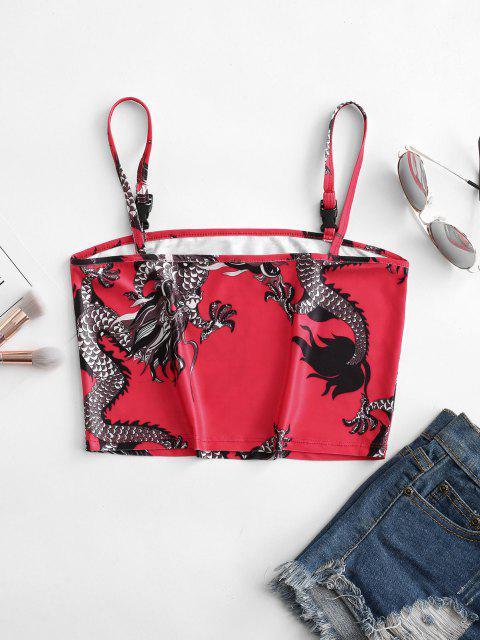 Haut Court à Bretelle Bouclé Dragon Imprimé - Rouge M Mobile