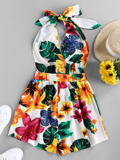 chic ZAFUL Halter Backless Tropical Print Romper - WHITE M Mobile