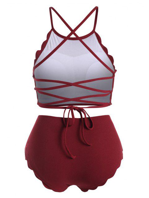 shops ZAFUL Ribbed Scalloped Lace-up Plus Size Tankini Swimwear - RED WINE 1X Mobile