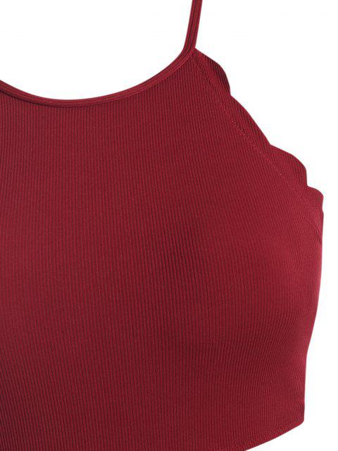 latest ZAFUL Ribbed Scalloped Lace-up Plus Size Tankini Swimwear - RED WINE 2X Mobile