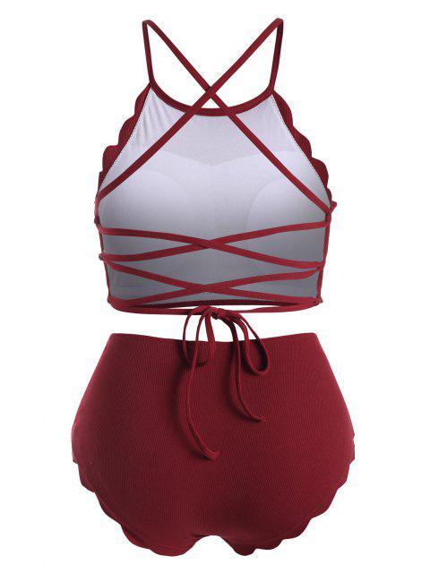 ZAFUL Gerippte Übergröße Tankini Badebekleidung mit Schnürung - Roter Wein 4X Mobile