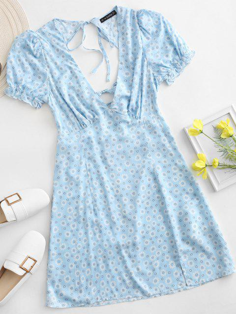 online ZAFUL Ditsy Floral Low Cut Tie Cutout Slit Dress - BLUE XL Mobile