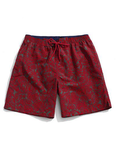 Drawstring All-over Flowers Printed Beach Shorts - Red Wine L