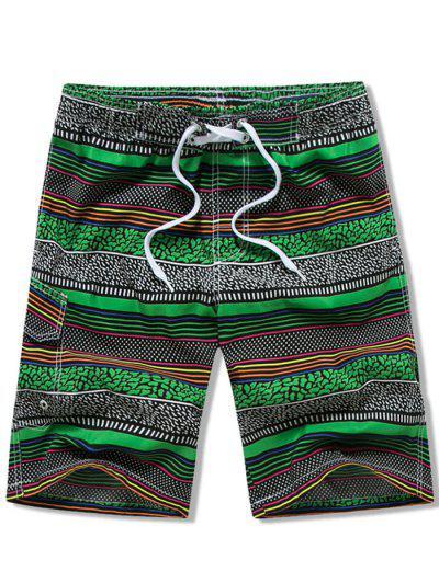 Flap Pocket Drawstring Striped Swimming Board Shorts - Green 3xl