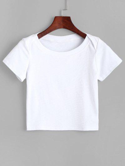 Buttons Solid Crop Tee - White M
