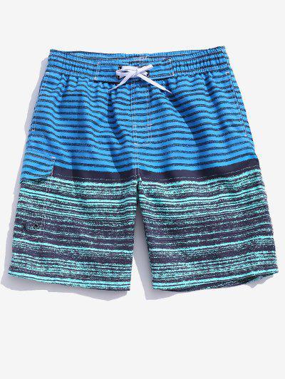 Colorblock Stripes Board Shorts - Dodger Blue Xl