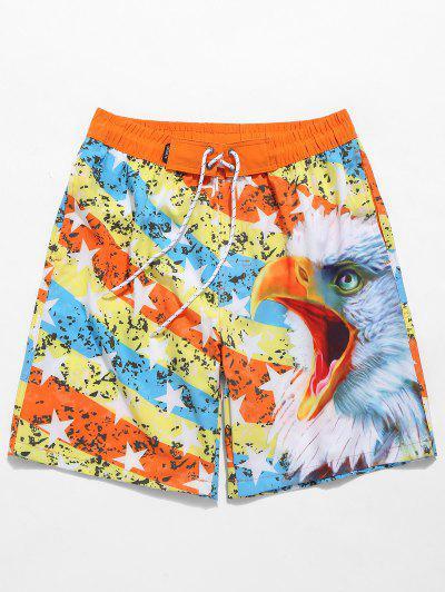 Drawstring 3D Eagle Star Print Swimming Beach Shorts - Pumpkin Orange L