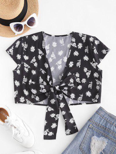 Ditsy Floral Cropped Tie Front Blouse - Black M