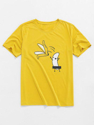 ZAFUL Cartoon Bananen Grundlegendes T-Shirt - Gelb Xl