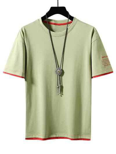 Letter Print Colorblock Ringer T-shirt - Green Yellow Xs