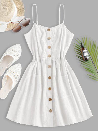 ZAFUL Button Up Shirred Cami Pocket Dress - White L