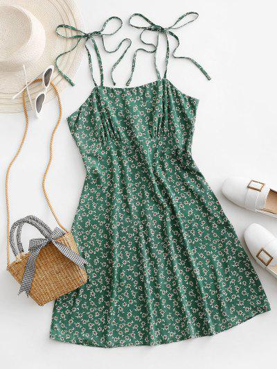 ZAFUL Tie Shoulder Tiny Floral Mini Dress - Sea Turtle Green S
