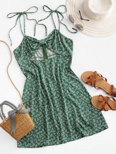 ZAFUL Ditsy Print Cutout Knotted Slit Dress - Sea Turtle Green M