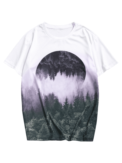 Reflected Forest Landscape Graphic Casual Crew Neck Tee
