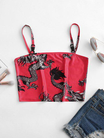 Dragon Print Push Buckle Oriental Crop Cami Top - Red M