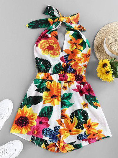 ZAFUL Halter Backless Tropical Print Romper - White S