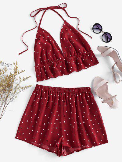ZAFUL Halter Flounce Ditsy Hearts Pajamas Set - Red Wine Xl