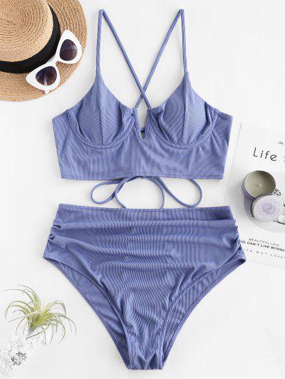 ZAFUL Plus Size Ribbed Lace Up V Cut Push Up Tankini Swimwear - Day Sky Blue 4xl