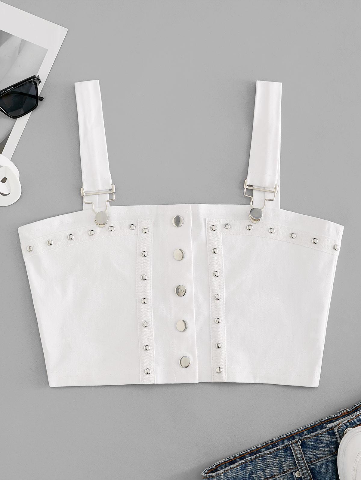 Suspender Buckle Studded Snap Button Crop Top
