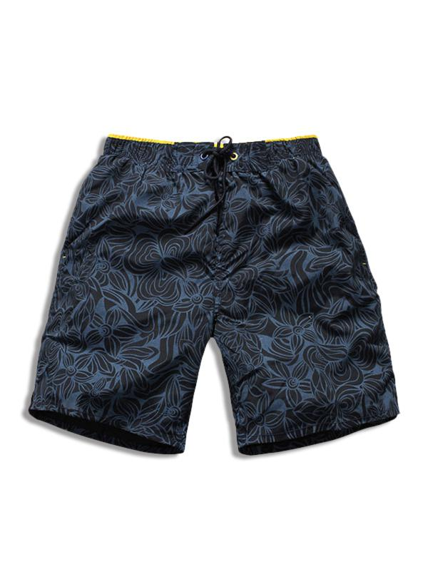 Drawstring All-over Flowers Printed Beach Shorts