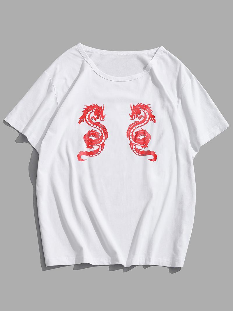 Dragon Print Round Neck Oriental T-shirt thumbnail