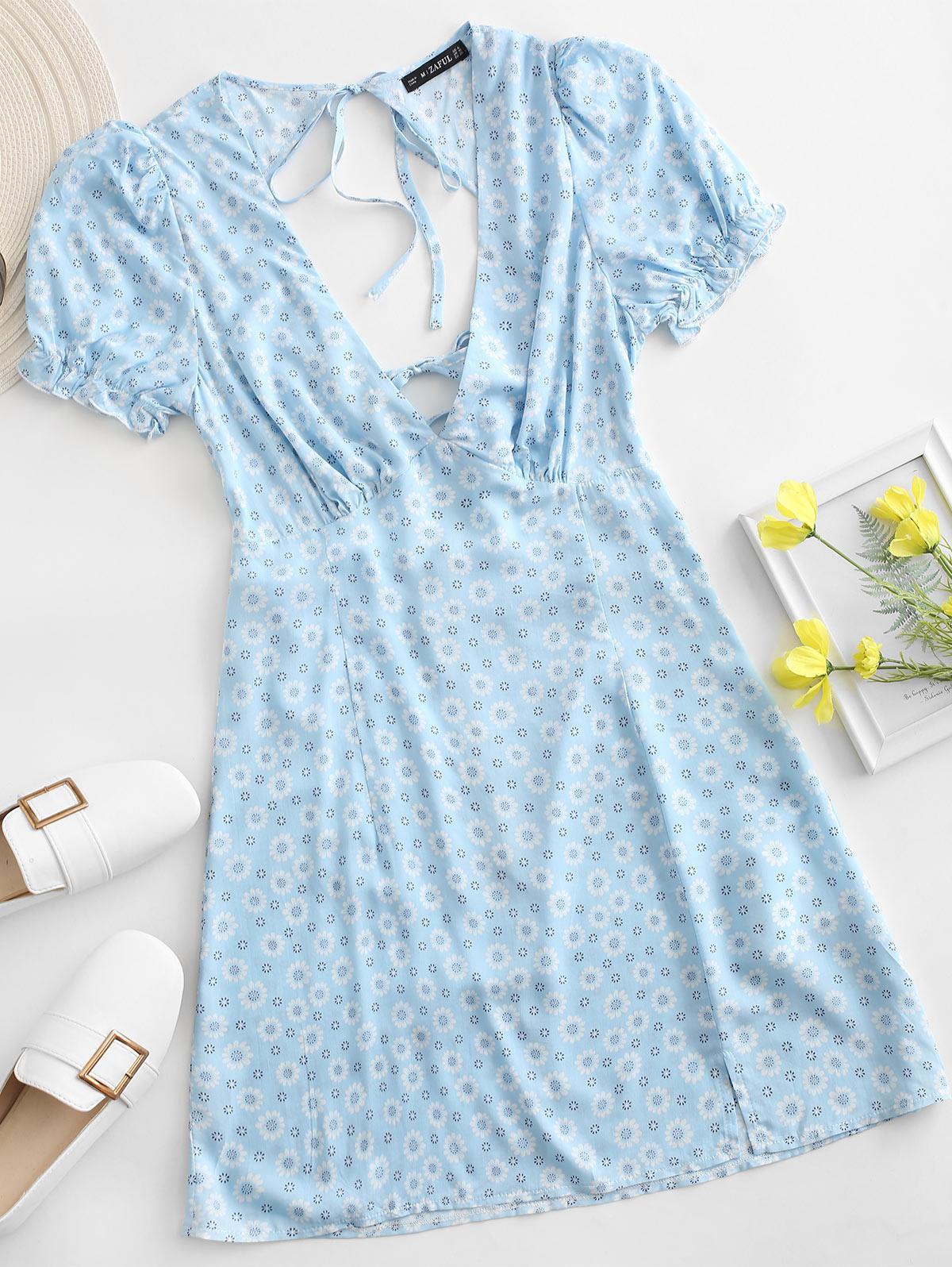 ZAFUL Ditsy Floral Low Cut Tie Cutout Slit Dress
