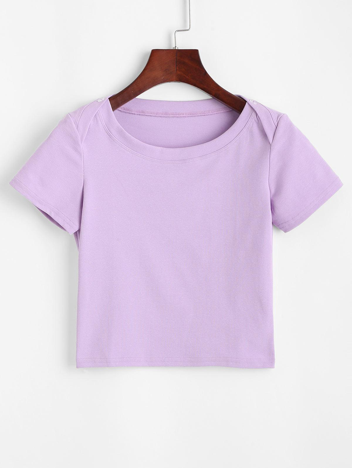 Buttons Solid Crop Tee