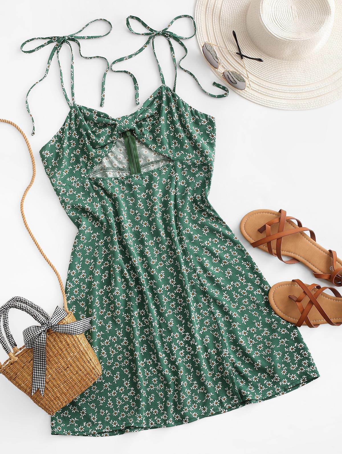 ZAFUL Ditsy Print Cutout Knotted Slit Dress