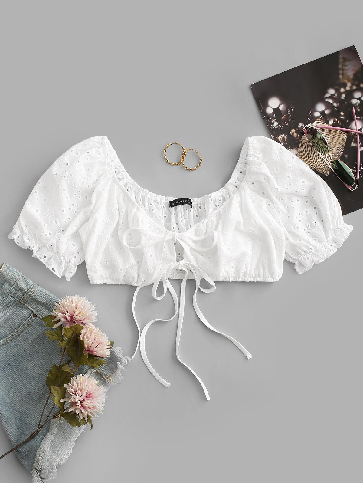 ZAFUL Broderie Anglaise Puff Sleeve Crop Tie Blouse