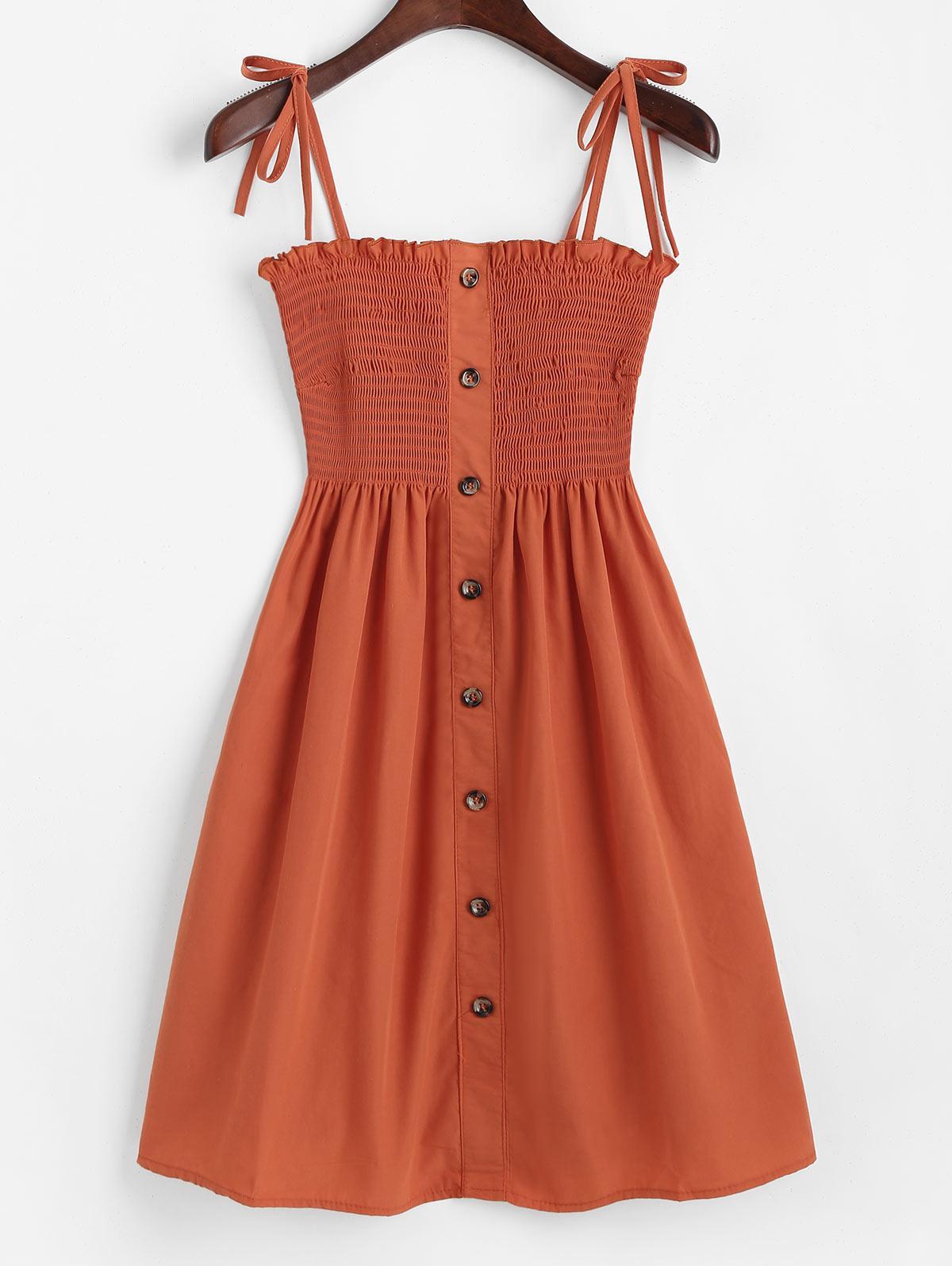 Mock Buttons Tie Shoulder Smocked Mini Dress