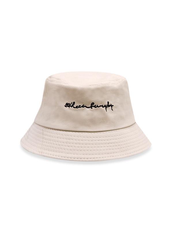 Letter Pattern Embroidery Bucket Hat