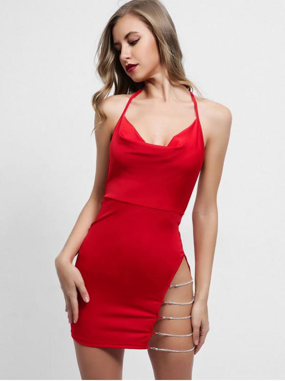 hot Chains Backless Halter Bodycon Dress - RED M