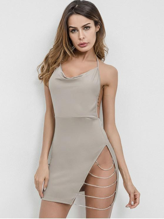 chic Chains Backless Halter Bodycon Dress - GRAY L