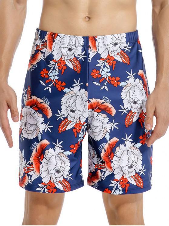 best Flower Print Swim Shorts - MULTI-A 2XL