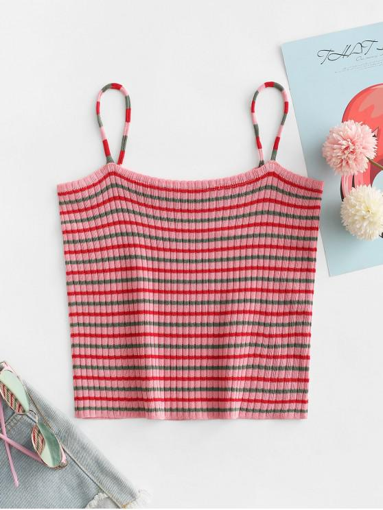 women Striped Crop Cami Top - PINK ONE SIZE