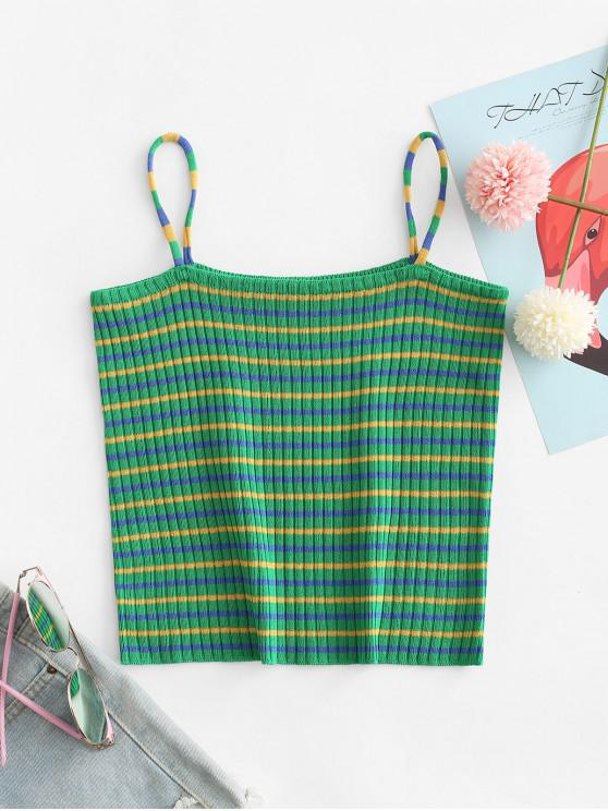 womens Striped Crop Cami Top - GREEN ONE SIZE