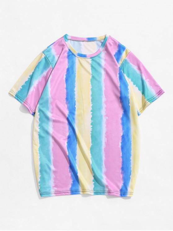 shop Colorful Tie Dye Striped T-shirt - MULTI-B 4XL