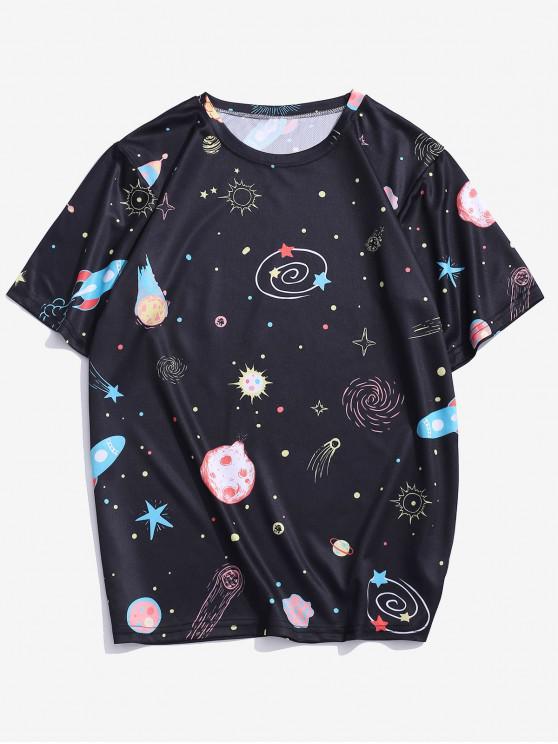 women Cartoon Universe Planet Graphic T-shirt - BLACK 4XL