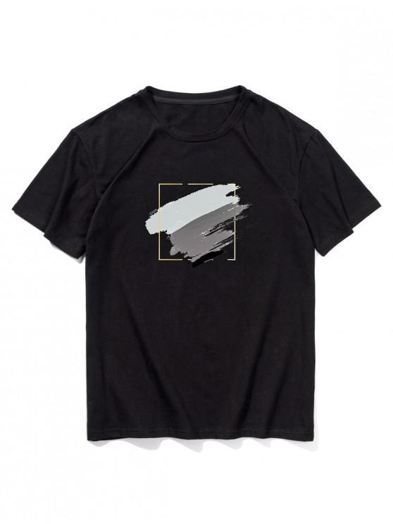 Short Sleeve Painting Print T-shirt - أسود 2XL