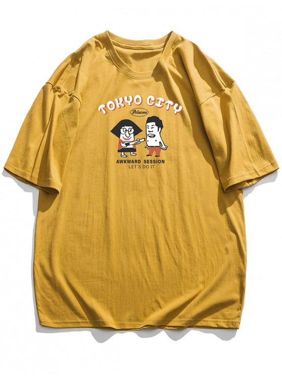 outfits Tokyo City Cartoon Graphic Basic T-shirt - BEE YELLOW 3XL