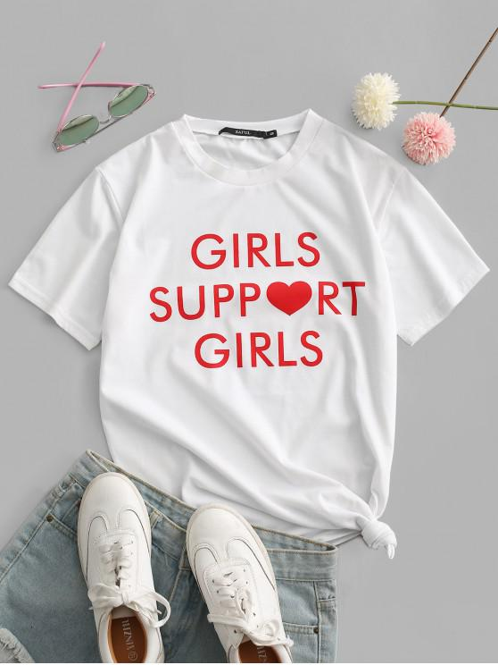 hot Girls Support Girls Graphic Short Sleeve T-shirt - WHITE L