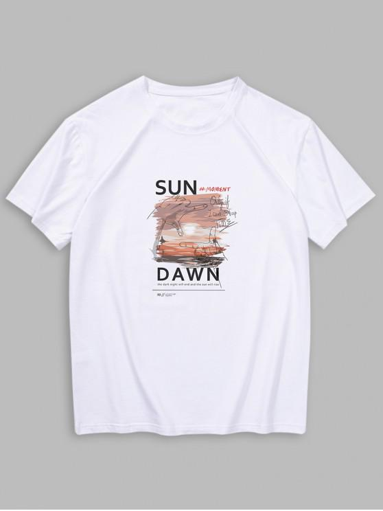lady Short Sleeves Sun Dawn Print T-shirt - WHITE 2XL