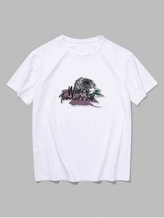 T-shirt Fleur Peinture Imprimés à Manches Courtes - Blanc XL