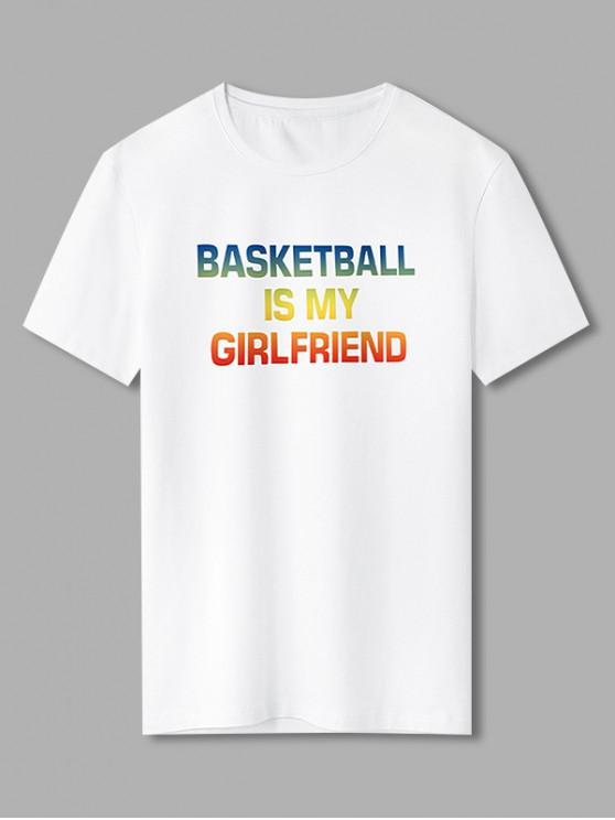 Ombre Basketball Letter Graphic T Shirt - أبيض XL