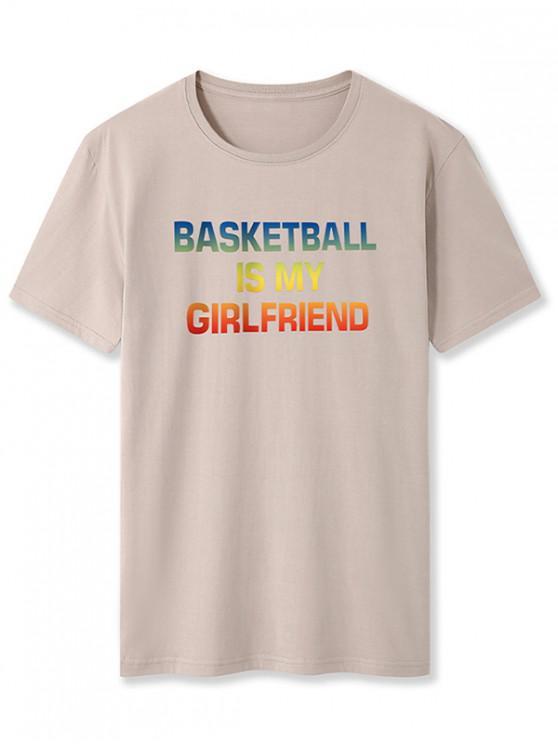 Ombre Basketball Buchstabe Grafik T-Shirt - Khaki XS