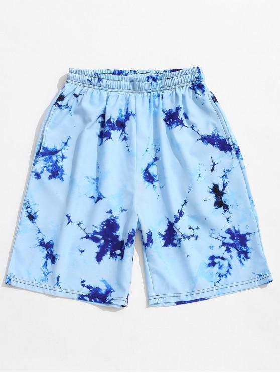Tie Dye Print Casual Board Shorts - ضوء السماء الزرقاء 2XL