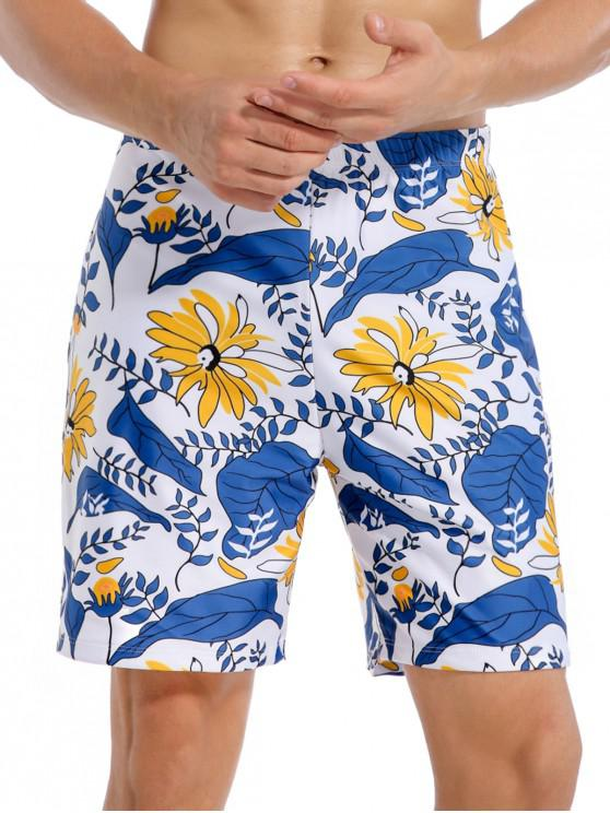 Flower Plant Leaf Print Vacation Swim Shorts - محيط أزرق 2XL