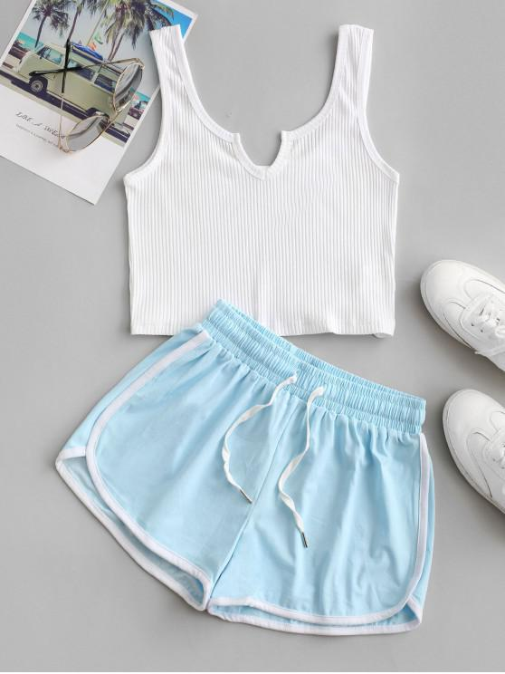 outfit Crop Tank Top and Dolphin Shorts Set - MULTI S