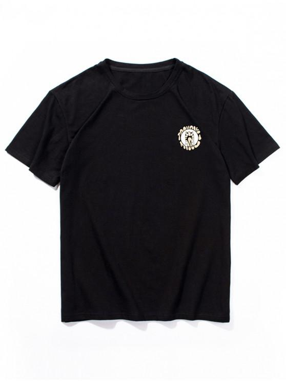 Kurzarm Cartoon Tiermuster T-Shirt - Schwarz 2XL